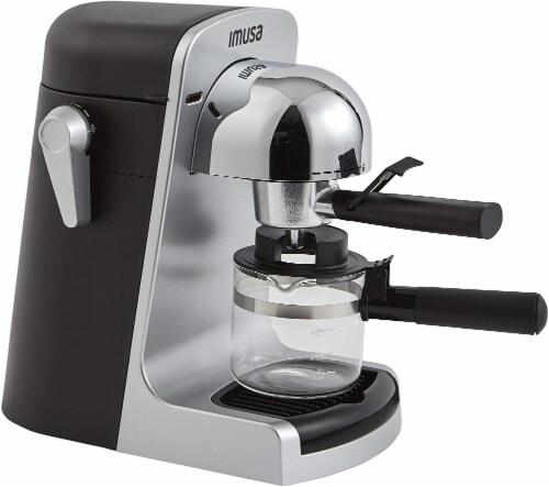IMUSA Bistro Electric Espresso & Cappuccino Maker with Carafe - Silver Perspective: front
