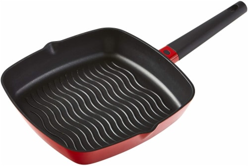 IMUSA Cast Aluminum Square Griddle - Red Perspective: front