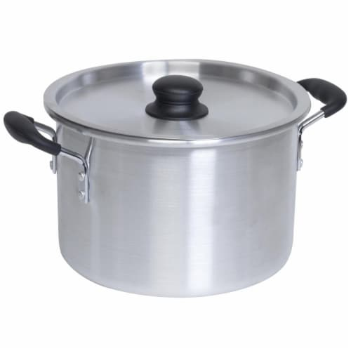 EMG IMU60008 8 qt. Imusa Aluminum Stock Pot with Lid, Silver Perspective: front