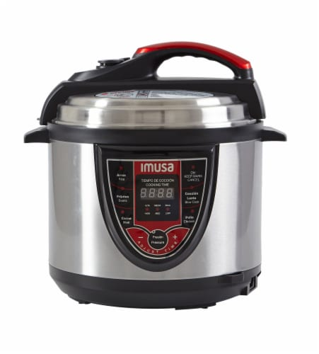 IMUSA Bilingual Digital Pressure Cooker - Red Perspective: front