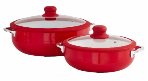 IMUSA Ceramic Nonstick Caldero Set with Lids - Red Perspective: front