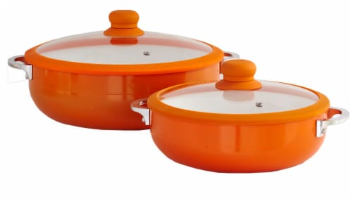 IMUSA Ceramic Nonstick Caldero Set with Glass Lids - Orange Perspective: front