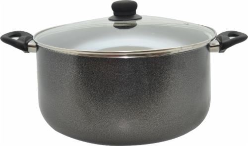 IMUSA Hammered Cast Aluminum Stock Pot with Lid - Gray Perspective: front