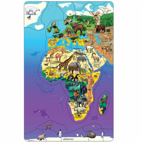 Dowling Magnets DO-734110 11.5 x 18 in. Eurasia Africa Wildlife Map Puzzle Perspective: front