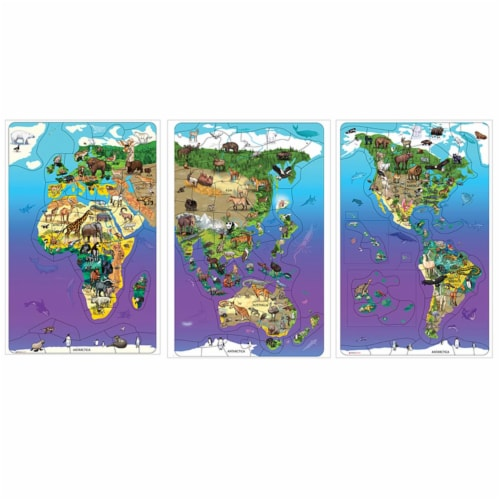 Dowling Magnets DO-734130 11.5 x 18 in. Wildlife Map Puzzle Bundle, Set of 3 Perspective: front