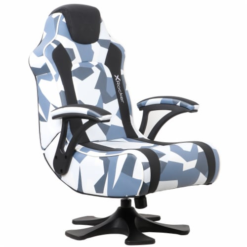 X Rocker Pedestal Gaming Chair w/ Padded Armrests, Gray & Black Camo Perspective: front