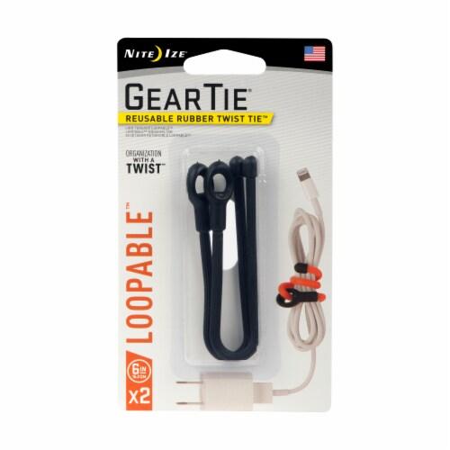 Night Ize Gear Tie Reusable Rubber Twiste Tie - Black Perspective: front