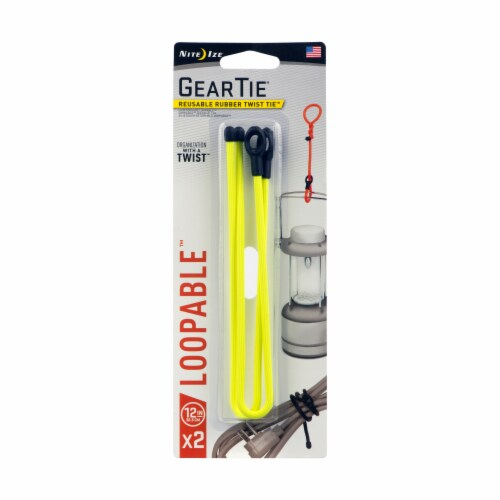 Gear Tie® Loopable Reusable Rubber Twist Tie - Yellow/Black Perspective: front