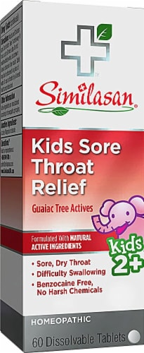 Similasan Kids Sore Throat Relief Dissolvable Tablets 60 Count Perspective: front
