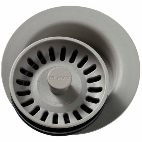 Elkay LKQD35GR 3.5 in. Polymer Disposer Flange with Removable Basket Strainer & Rubber Stoppe Perspective: front