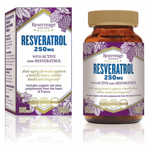 Reserveage Nutrition Organic Resveratol Vegetarian Capsules 250mg Perspective: front