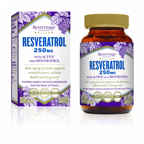 Reserveage Nutrition Resveratrol Veggie Capsules 250mg Perspective: front