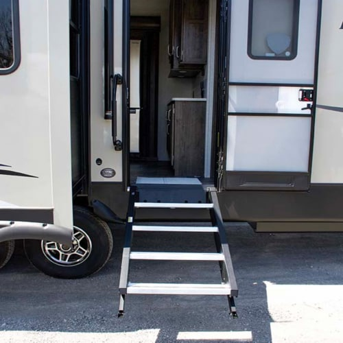 MORryde StepAbove 31.5 to 37 In 3 Step Portable RV Camper Stairs w/ Strut Assist Perspective: front