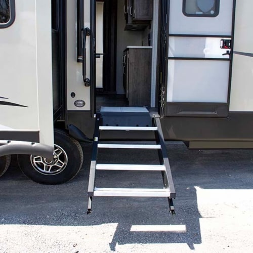 MORryde StepAbove 37.5 to 42 In 4 Step Portable RV Camper Stairs w/ Strut Assist Perspective: front