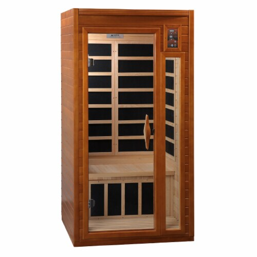 Dynamic Barcelona 1 to 2 Person Hemlock Wood Low EMF FAR Infrared Sauna For Home Perspective: front