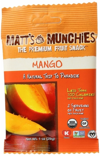 Matt's Munchies Island Mango Premium Fruit Snacks Perspective: front