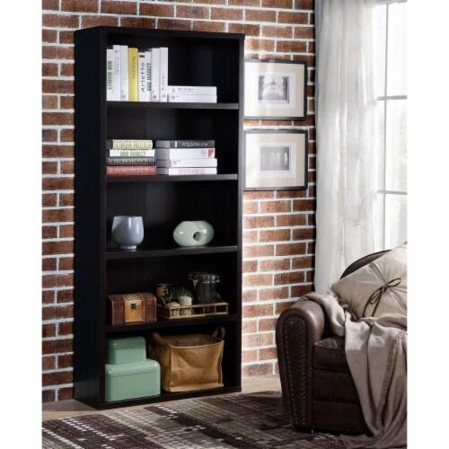Design Mode BOO-KE-BL5C1 5 Shelf Wood Bookcase Perspective: front