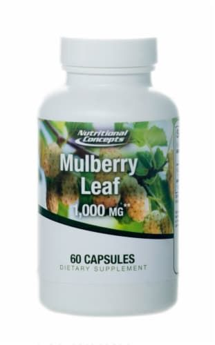 Nutritional Concepts Mulberry Leaf Capsules 1000 mg Perspective: front