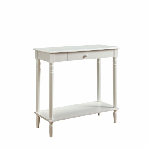 Convenience Concepts French Country Hall Table in White Wood Finish Perspective: front