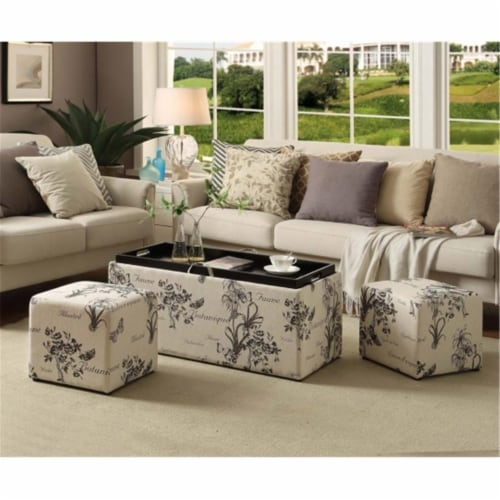 Sheridan Storage Bench with Ottomans in Multi-Color Botanical Fabric Perspective: front