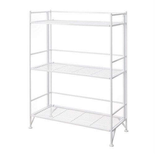 Convenience Concepts 8019W Designs-2-Go Extra Storage 3 Tier Wide Folding Metal Shelf, White Perspective: front
