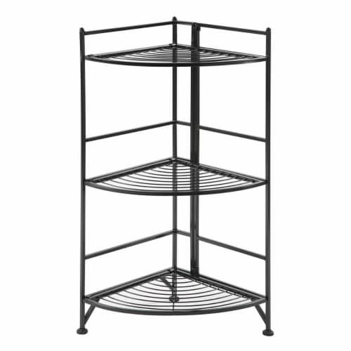 Convenience Concepts 8022B Designs-2-Go Extra Strong 3-Tier Folding Metal Corner Shelf, Blue Perspective: front