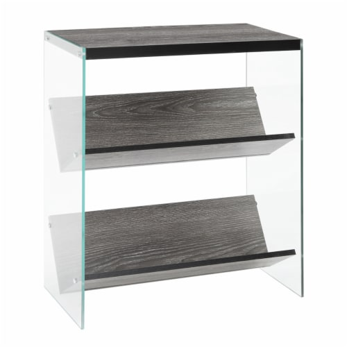 Convenience Concepts Soho 2 Shelf Bookcase in Weathered Gray Wood Finish Perspective: front