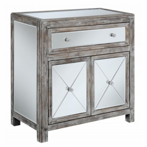 Convenience Concepts 413365WW Gold Coast Vineyard Mirrored Cabinet, Weathered White Perspective: front