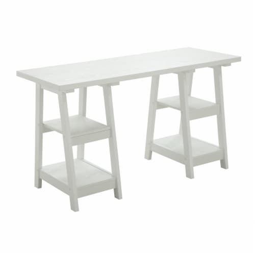 Convenience Concepts Designs2Go Double Trestle Desk in White Wood Finish Perspective: front