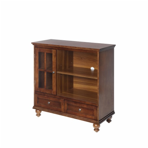 Convenience Concepts Tahoe Highboy TV Stand in Dark Walnut Wood Finish Perspective: front