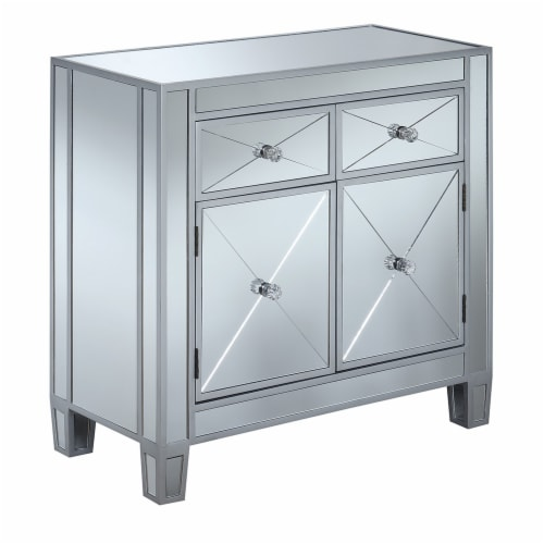 Gold Coast Vineyard Two-Drawer Cabinet in Mirrored Glass and Silver Wood Finish Perspective: front