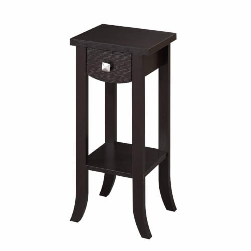 Convenience Concepts Newport Prism Medium Plant Stand in Espresso Wood Finish Perspective: front