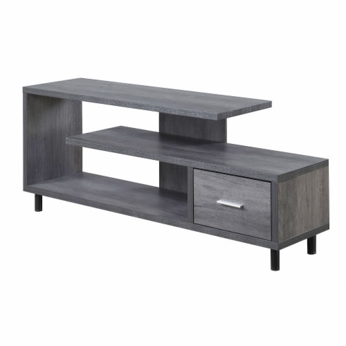 Convenience Concepts Seal II 60  TV Stand in Weathered Gray Wood Finish Perspective: front