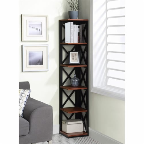 Convenience Concepts Oxford Five-Tier Corner Bookcase in Cherry and Black Wood Perspective: front