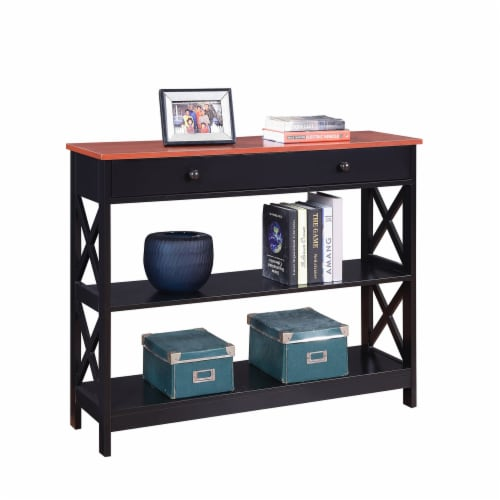 Convenience Concepts Oxford One-Drawer Console Table in Cherry and Black Wood Perspective: front