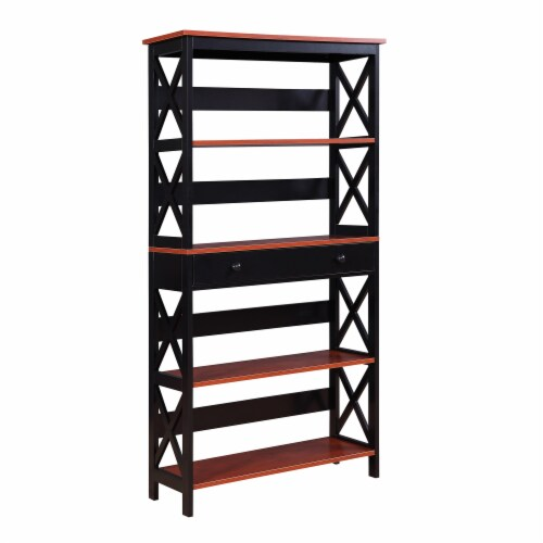 Oxford 5 Tier Bookcase with Drawer Perspective: front