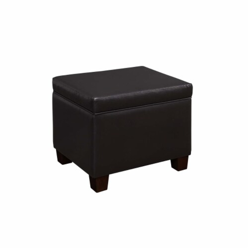 Convenience Concepts Madison Storage Ottoman in Espresso Faux Leather Fabric Perspective: front