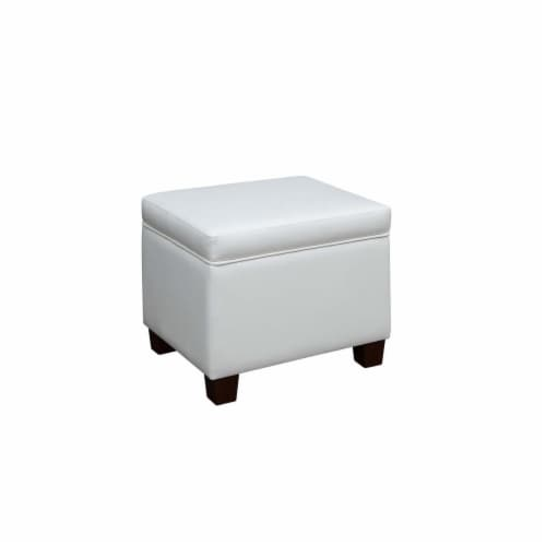 Madison Storage Ottoman , White Perspective: front