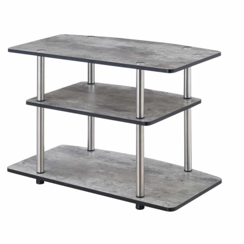 Convenience Concepts Designs2Go Three-Tier 32  TV Stand in Gray Wood Finish Perspective: front
