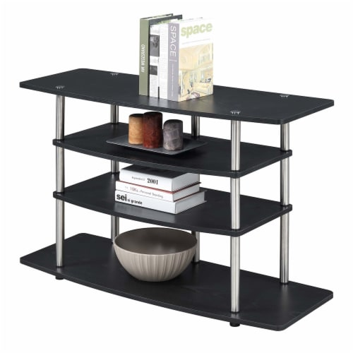 Convenience Concepts Designs2Go No-Tools Wide Highboy 32  TV Stand in Black Wood Perspective: front