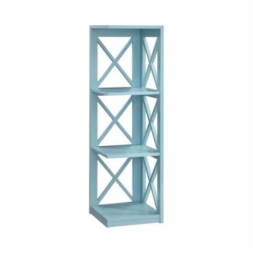 Convenience Concepts Oxford Three-Tier Corner Bookcase in Sea Foam Wood Finish Perspective: front