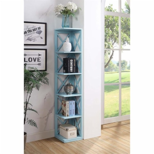 Convenience Concepts Oxford Five-Tier Corner Bookcase in Mint Green Wood Finish Perspective: front