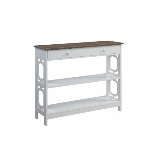 Convenience Concepts Omega One-Drawer Console Table in Espresso and White Wood Perspective: front