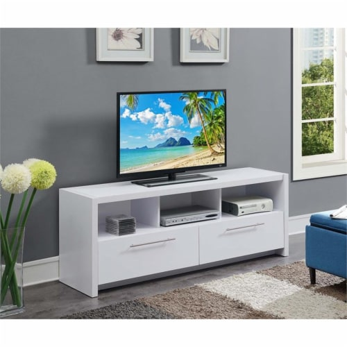Convenience Concepts Newport Marbella 60  TV Stand in White Wood Finish Perspective: front