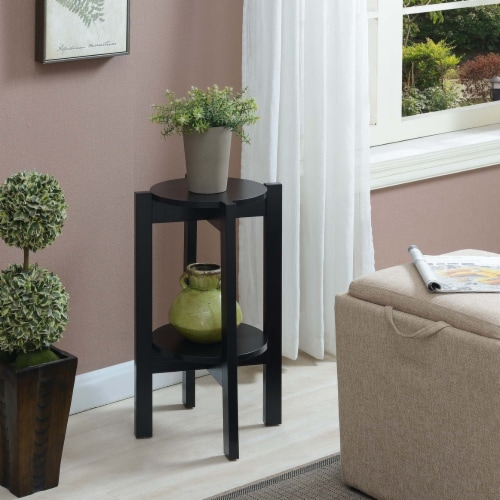 Convenience Concepts Newport Medium Plant Stand in Black Wood Finish Perspective: front