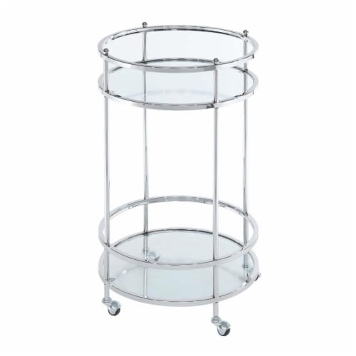 Convenience Concepts 134058GLCRO Royal Crest Bar Cart with Wheel, Clear Glass & Chrome Frame Perspective: front