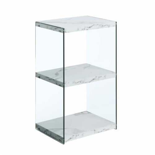 Convenience Conepts SoHo Three-Tier Tower Bookcase in White Faux Marble Wood Perspective: front