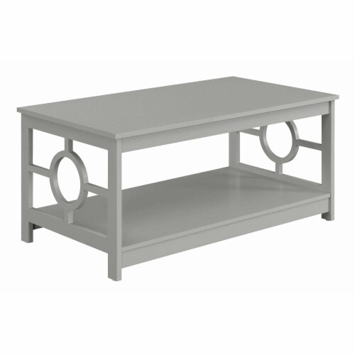 Convenience Concepts Ring Coffee Table in Gray Wood Finish with Lower Shelf Perspective: front