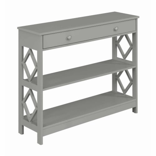 Convenience Concepts Diamond One-Drawer Console Table in Gray Wood Finish Perspective: front