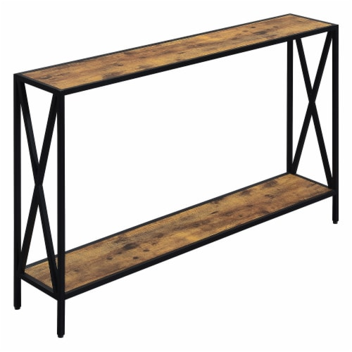 Convenience Concepts Tucson Black Metal Console Table in Multi-Color Wood Finish Perspective: front